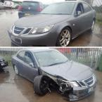 Saab car breaker with side damage